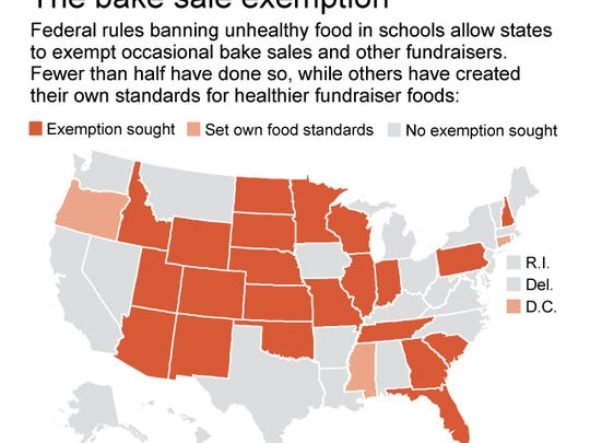 Map shows status of state school fundraising policies