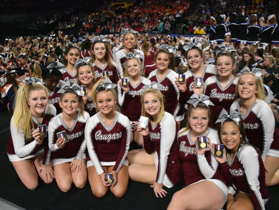 Members of Stuarts Draft's competition cheer team show