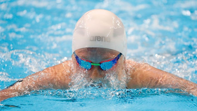 Fossil Ridge's Zoe Bartel swims during the Women's 200 Meter Breaststroke preliminary heats in the U.S. Olympic swimming team trials at CenturyLink Center on Thursday. Bartel finished in the top 16 to qualify for the semifinals.