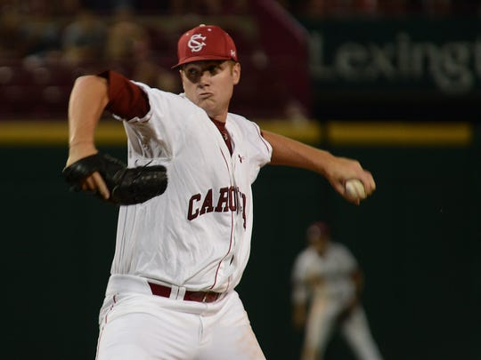 University of South Carolina senior Tyler Webb delivers a pitch during last weekend's three-game series against Georgia. It was the final home series for Webb, a native of Northampton County and a closer for the Gamecocks.