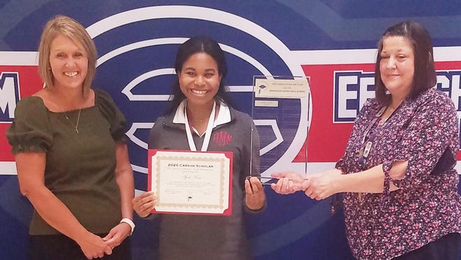 From left are: ECHS Principal Amie Dickerson, Carson Scholar April Moss and nominating teacher Virginia Higgs.