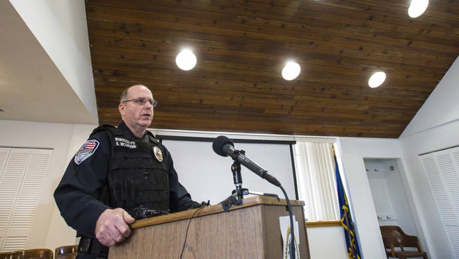 Lt. Scott McGivern of the Winooski Police Department speaks during a news conference in Winooski on Wednesday, March 9, 2016, to discuss Tuesday's discovery of a clandestine drug lab in the city.