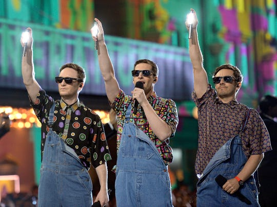 Comedy pop trio the Lonely Island featuring Andy Samberg (center) will headline Summerfest's Miller Lite Oasis June 28.