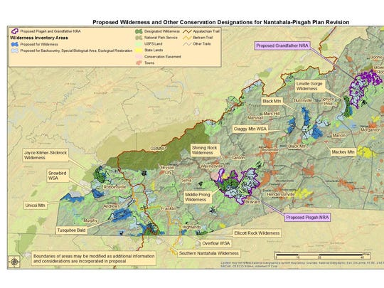 This map shows where environmental and recreational groups say they want wilderness and national recreation areas in Western North Carolina.
