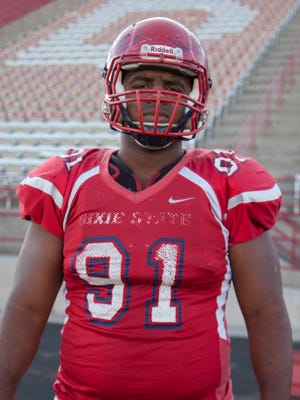 Dixie State University defensive lineman Darius Matthews has strengthened his team through tough seasons over the last four years of his college career Tuesday, Oct. 25, 2016.
