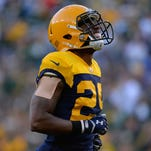 Green Bay Packers cornerback Casey Hayward reacts as a would-be interception is called by because of a penalty in the second quarter against the San Diego Chargers.