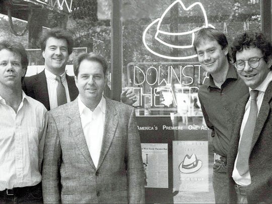 Lewis Black, right, in the early 1980s outside the West Bank Café and Downstairs Theatre on 42nd Street and 9th Avenue, Theatre Row, in Manhattan, with, from left, Rand Foerster, Rowan Joseph, Steve Olsen and Rusty Magee.