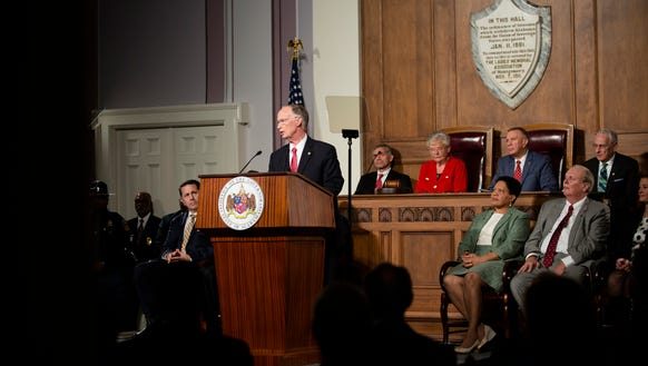 Alabama Governor Robert Bentley speaks during his State