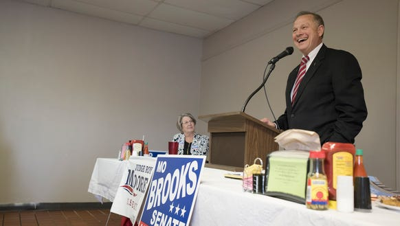 Roy Moore speaks during the River Region Republicans