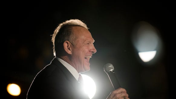 Roy Moore speaks at a Roy Moore campaign rally on Thursday,