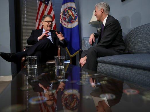 Gorsuch meets with Sen. Al Franken, D-Minn., in Franken's