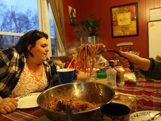 Dinner inside Samantha Hanley's Wisconsin Rapids home