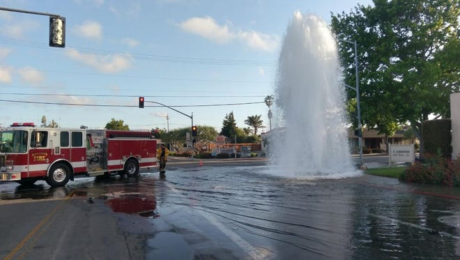 A vehicle crashed into a fire hydrant in Salinas on Tuesday.