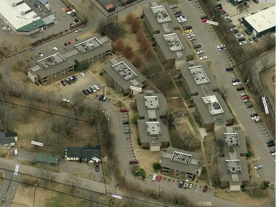 An aerial view of Park West at Hillwood apartments,