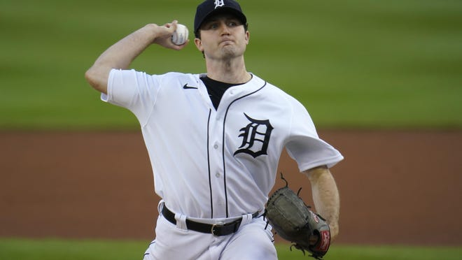 Detroit Tigers pitcher Casey Mize throws against the Cleveland Indians  in the first inning of a baseball game in Detroit, Thursday, Sept. 17, 2020.