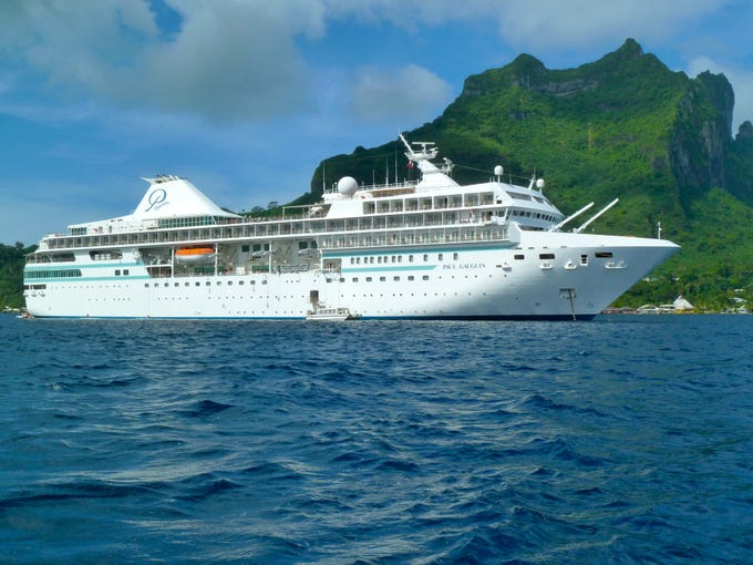 The five-star Paul Gauguin was designed specifically to sail South Pacific waters.  The ship measures 19,200 gross tons and carries 332 guests, providing one of the industry's highest space ratios of 58.