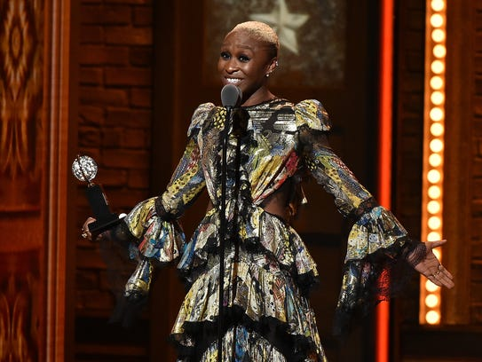 Actress Cynthia Erivo accepts the award for best performance