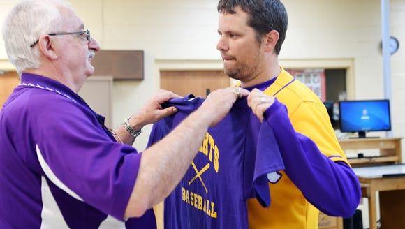 North Henderson baseball coach Justin King gifts Val