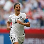 In a file photo from Juyl 5, 2015, United States midfielder Carli Lloyd (10) celebrates after scoring against Japan during the first half of the final of the FIFA 2015 Women's World Cup at BC Place Stadium.