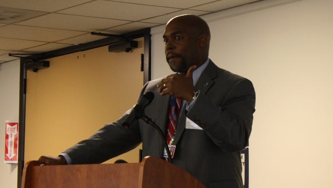 Superintendent Desmond Blackburn presents his finalized strategic plan to members of the community Wednesday morning.