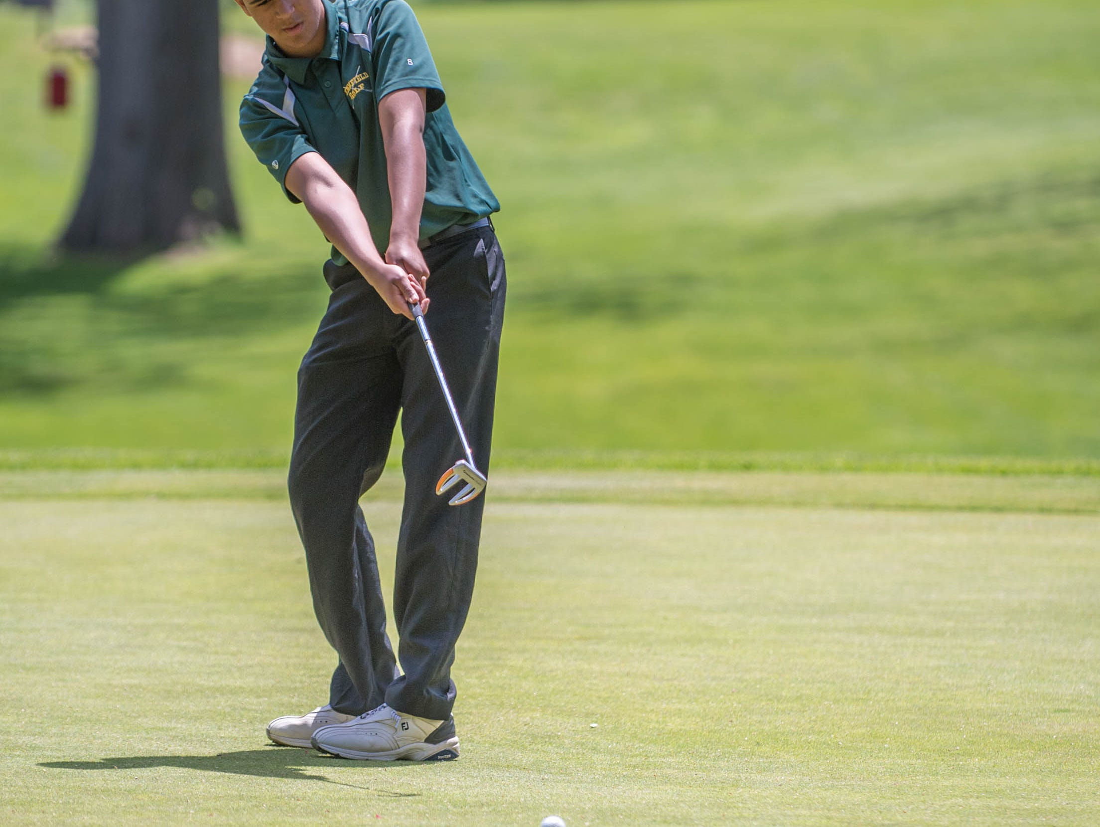 Pennfield sophmore Jaydon Butson hits his putt during All City High School Golf at Riverside Golf Club on Friday.