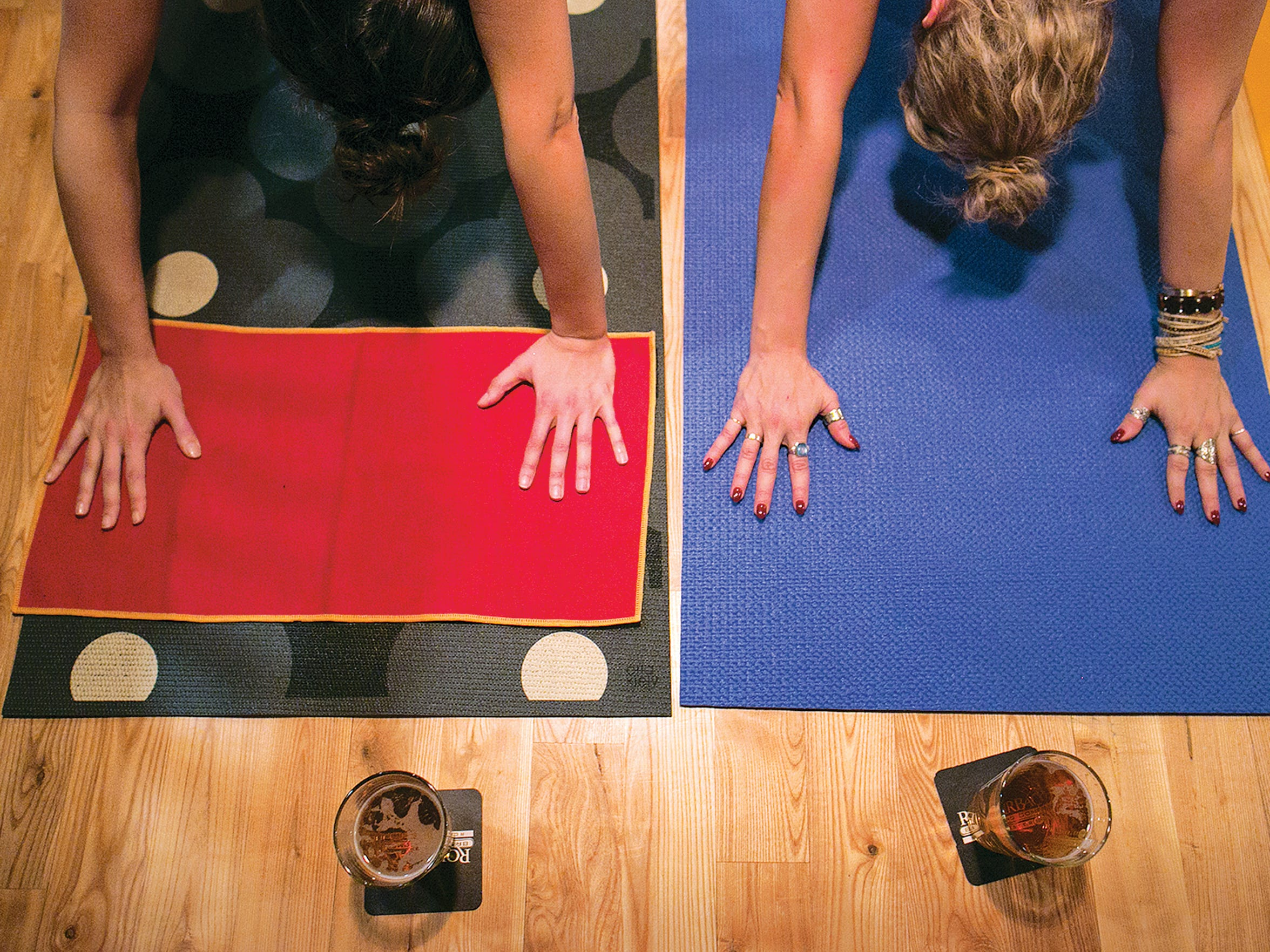 Yoga meets booze at Brewga (seen here at Rohrbach Brewing