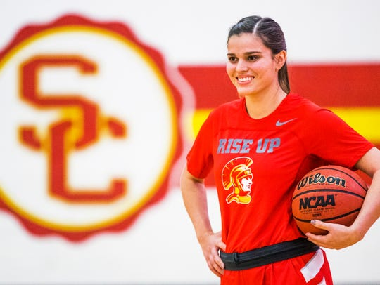 Marist College women's basketball recruit Kendall Krick practices for Chandler Seton Catholic High School earlier this year.