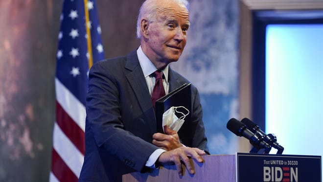 Democratic presidential candidate former Vice President Joe Biden gives a speech on the Supreme Court at The Queen Theater Sunday in Wilmington, Delaware.