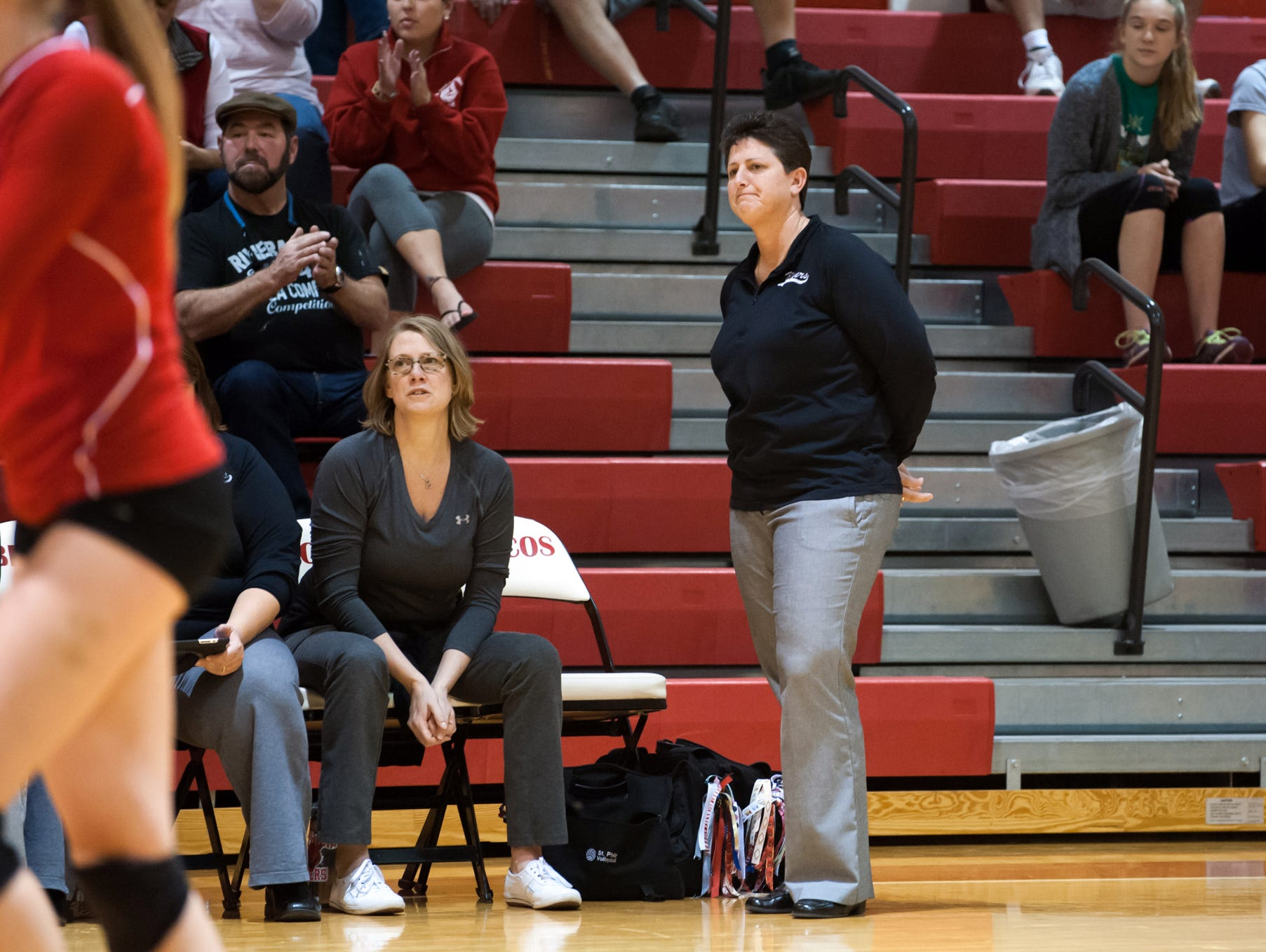 St. Philip head coach Vicky Groat watches her team in action Tuesday night.