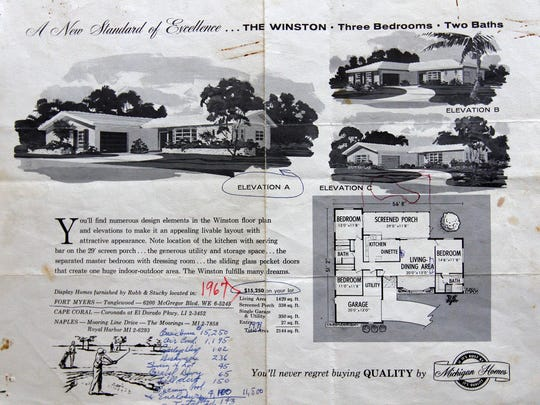 A 1960's Michigan Homes flyer for the Winston, a three-bedroom, two-bath home starting in the low $15,000's. After a legendary real estate run, the property at Colonial Boulevard and Fowler Street where the company made its home base has sold for $2.2 million.