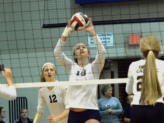 West York's Trilby Kite sets the ball against Delone during the York-Adams League girls' volleyball championship match at Dallastown Tuesday, Oct. 24, 2017. West York took the crown with a 3-0 (25-16, 25-11, 25-18) win. Bill Kalina photo