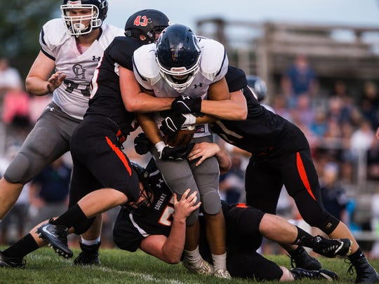 as Palmyra defeated Camp Hill 24-21 in the final seconds of their season opener on Friday, August 25, 2017.
