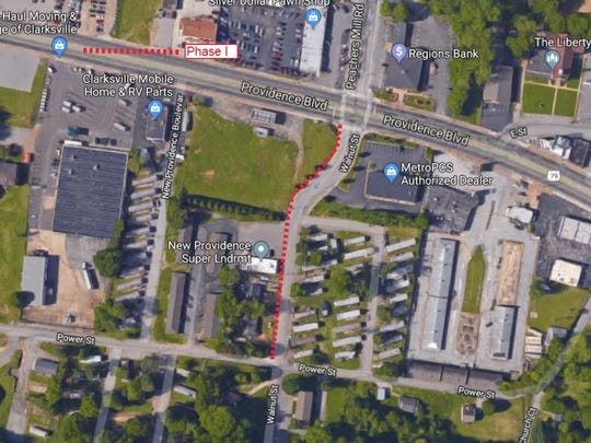 A sidewalk for Walnut Street connecting to Providence Boulevard would be included in Phase 1.