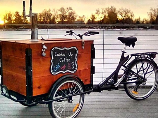 Cranked Up Coffee sells drinks in Fort Collins from a specially rigged bicycle.