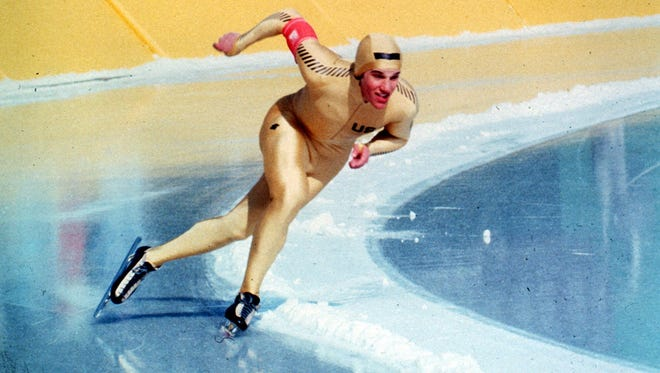 U.S. Olympic Speedskater Eric Heiden is shown in action winning the 1500m speedkating event Feb. 21, 1980 at Lake Placid, N.Y.