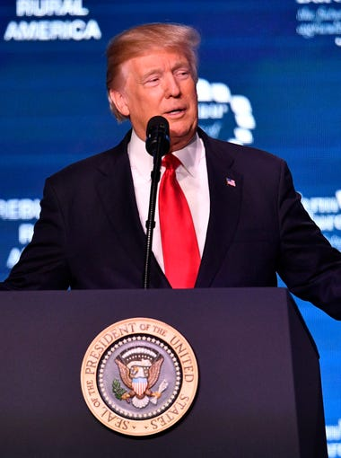 President Donald Trump speaks to the American Farm Bureau Federation at Gaylord Opryland Resort & Convention Center Monday, Jan. 8, 2018 in Nashville, Tenn.