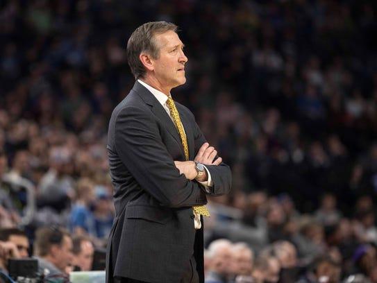 Knicks head coach Jeff Hornacek looks on during the
