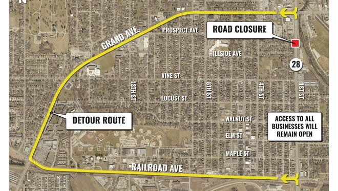 A portion of 1st Street, just south of Grand Avenue, in West Des Moines will be closed for two months starting April 2.