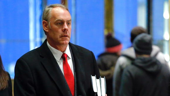 Montana Rep. Ryan Zinke arrives at Trump Tower on Dec. 12, 2016, in New York.