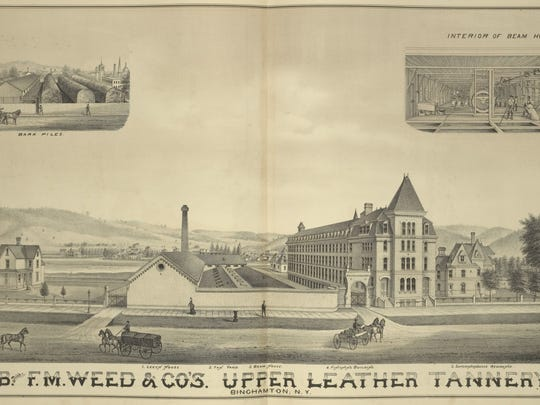 An 1876 engraving showing the Weed Tannery complex.