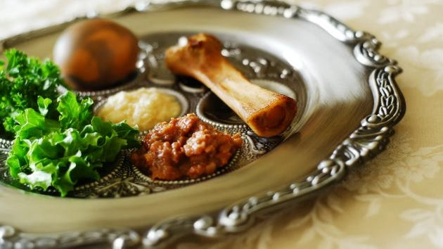 The traditional seder plate includes shank bone, egg, bitter herbs, vegetable and haroset (fruit paste).