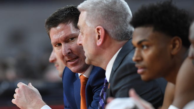 Clemson head coach Brad Brownell during the 2nd half on Sunday, February, 18 2018, at Clemson's Littlejohn Coliseum.