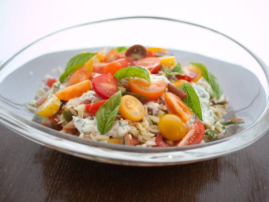 Tomato orzo salad with basil, yogurt and mint from ZuZu.
