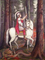 St. George and the Dragon, designed by Sister Justina and embroidered by Sister Bernardita Braukmann.