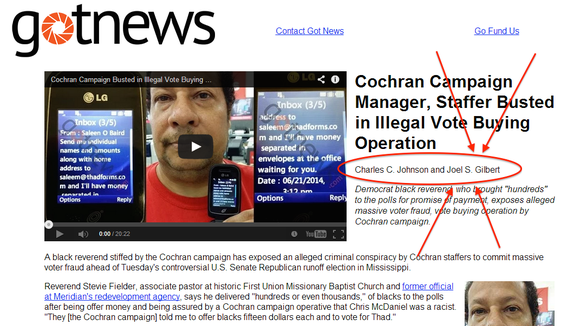 This screenshot shows the original story posted at GotNews.com with Joel S. Gilbert listed as a co-author. Later versions do not included Gilbert's name.