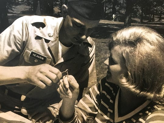 Mark and Brenda Hearvin break a wishbone together on a visit before Mark is deployed to Vietnam