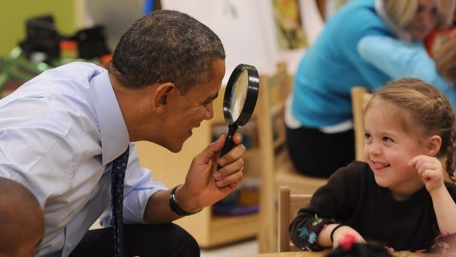 President Obama visits a preschool class last year in Decatur, Ga.