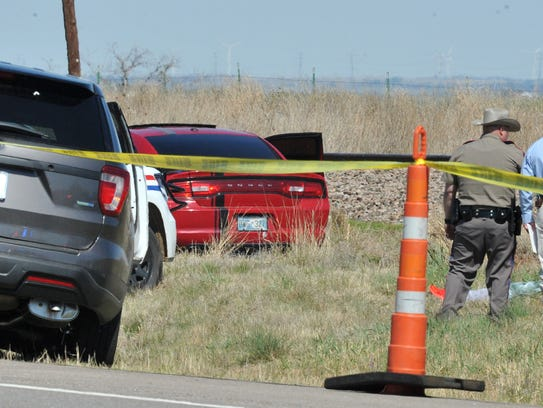 Crime scene tape is used to mark off the area where