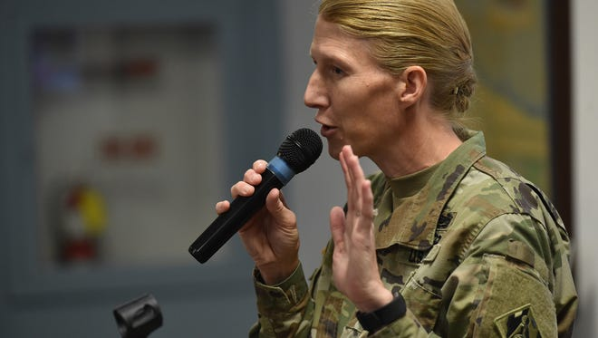 Lt. Col. Jennifer Reynolds, Deputy District Engineer for South Florida, from the U S Army Corps of Engineers, makes a presentation on Lake Okeechobee and the St. Lucie River during a Rivers Coalition meeting Thursday, June 28, 2018, at the City of Stuart commission chambers. More than 100 attended the 90-minute meeting, providing an update to the public on the algae situation affecting Lake Okeechobee and the St. Lucie River.