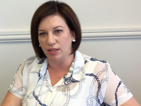 Reno City Manager Sabra Smith Newby talks with the